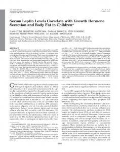 Serum Leptin Levels Correlate with Growth Hormone Secretion and ...