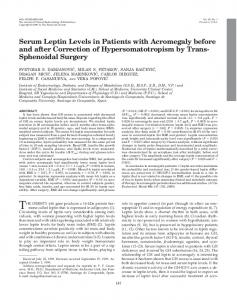 Serum Leptin Levels in Patients with Acromegaly before and after ...