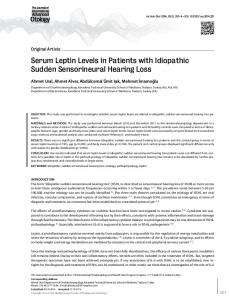 Serum Leptin Levels in Patients with Idiopathic Sudden Sensorineural ...