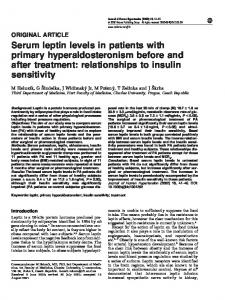 Serum leptin levels in patients with primary hyperaldosteronism before ...