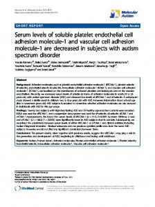 Serum levels of soluble platelet endothelial cell ... - ScienceOpen