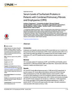 Serum Levels of Surfactant Proteins in Patients with Combined ... - PLOS