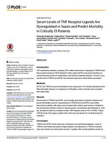 Serum Levels of TNF Receptor Ligands Are ... - RWTH Publications
