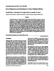 Serum Magnesium and Dyslipidemia in Type-2 Diabetes Mellitus