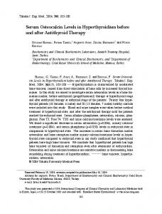 Serum Osteocalcin Levels in Hyperthyroidism before and after