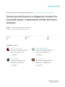 Serum procalcitonin as a diagnostic marker for ...