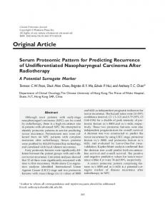 Serum proteomic pattern for predicting ... - Clinical Proteomics
