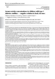 Serum resistin concentrations in children with type 1 diabetes mellitus ...