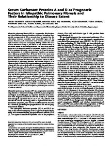 Serum Surfactant Proteins A and D as Prognostic ... - ATS Journals