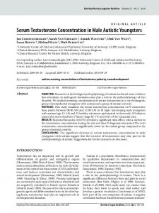 Serum Testosterone Concentration in Male Autistic Youngsters