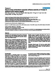 Serum total antioxidant capacity reflects severity of ... - Semantic Scholar