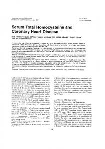 Serum Total Homocysteine and Coronary Heart Disease
