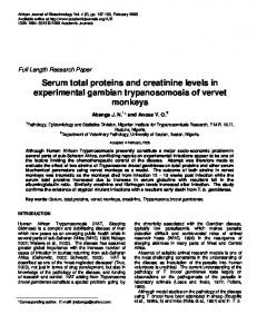 Serum total proteins and creatinine levels in experimental ... - TSpace