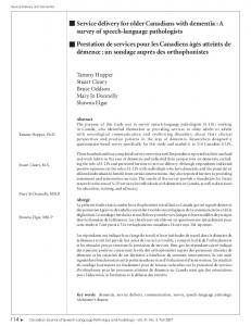 Service delivery for older Canadians with dementia : A survey of ...
