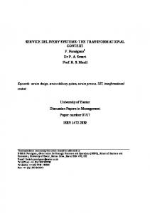 SERVICE DELIVERY SYSTEMS: THE TRANSFORMATIONAL ...