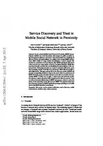 Service Discovery and Trust in Mobile Social Network in ... - arXiv