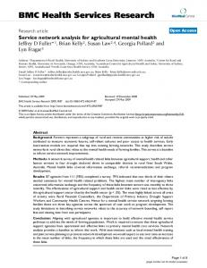 Service network analysis for agricultural mental health