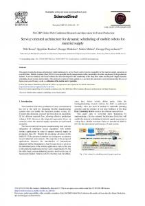 Service Oriented Architecture for Dynamic Scheduling ... - ScienceDirect