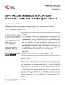 Service Quality Experience and Customers' Behavioural Intentions in ...