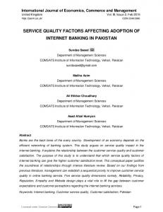 service quality factors affecting adoption of internet banking in pakistan