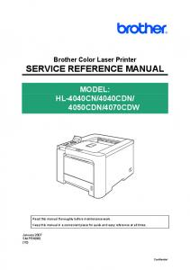 SERVICE REFERENCE MANUAL - Brother Support