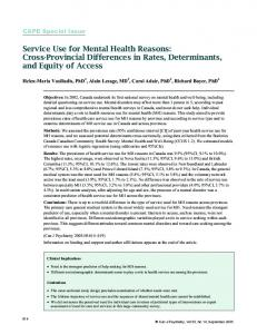 Service Use for Mental Health Reasons: Cross-Provincial Differences ...