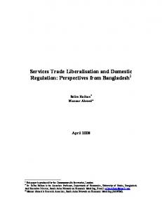 Services Trade Liberalisation and Domestic ...