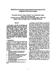 SERVOGrid Complexity Computational Environments (CCE ...