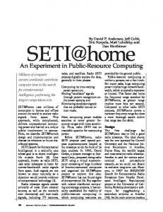 SETI@home: an experiment in public-resource ... - Computer Science
