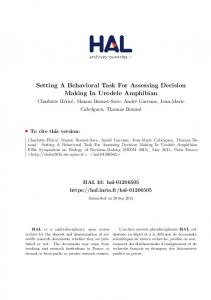 Setting A Behavioral Task For Assessing Decision Making ... - HAL-Inria