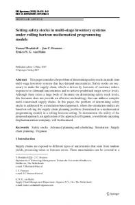 Setting safety stocks in multi-stage inventory systems ... - Springer Link