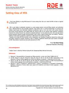 Setting time of MTA QA - Restorative Dentistry & Endodontics