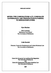 seven: the corporations act, corporate governance ...