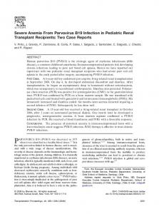 Severe Anemia From Parvovirus B19 Infection in Pediatric Renal ...