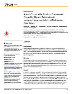 Severe Community-Acquired Pneumonia Caused by Human ... - PLOS