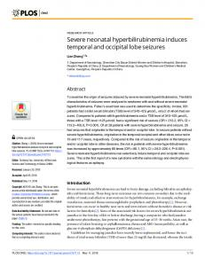 Severe neonatal hyperbilirubinemia induces temporal and ... - PLOS