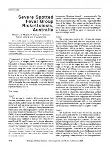 Severe Spotted Fever Group Rickettsiosis, Australia