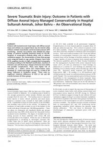 Severe Traumatic Brain Injury - Medical Journal of Malaysia
