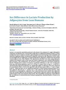 Sex Difference in Lactate Production by Adipocytes from Lean Humans