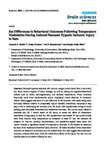Sex Differences in Behavioral Outcomes Following ... - Semantic Scholar