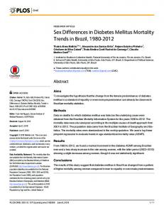 Sex Differences in Diabetes Mellitus Mortality Trends in Brazil ... - PLOS