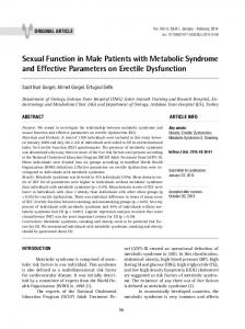 Sexual Function in Male Patients with Metabolic Syndrome and ...