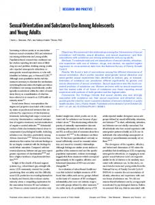 Sexual Orientation and Substance Use among Adolescents and ...