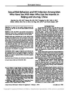Sexual Risk Behaviors and HIV Infection Among Men