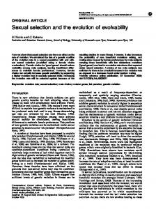 Sexual selection and the evolution of evolvability - Semantic Scholar