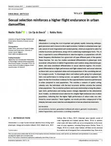 Sexual selection reinforces a higher flight endurance in urban ... - Core