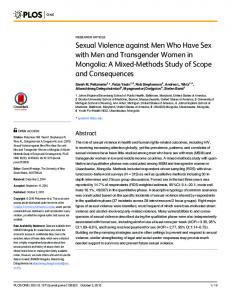 Sexual Violence against Men Who Have Sex with Men and ... - PLOS
