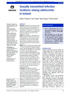 Sexually transmitted infection incidence among adolescents in Ireland