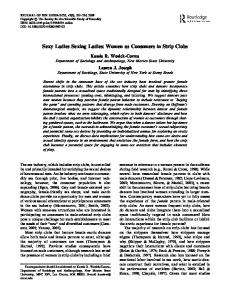 Sexy Ladies Sexing Ladies: Women as Consumers in Strip Clubs