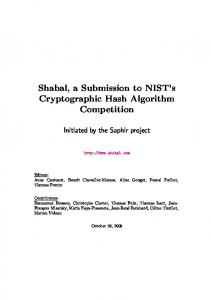 Shabal, a Submission to NIST's Cryptographic Hash ... - RIT CS
